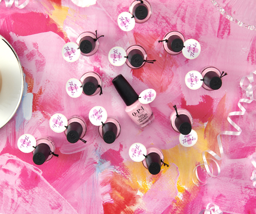 "Make your party a polish party with 24 nail polish party favors using ""Mani Thanks"" gift tags"